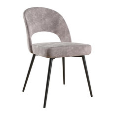 CosmoLiving Alexi Upholstered Dining Chair Light Gray Velvet