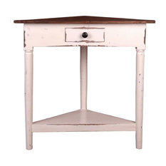 Sunset Trading Cottage Corner Table, Whitewash With Raftwood Top