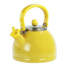 2.2-Quart Enamel Whistling Teakettle With Glass Lid, Lemon