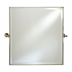 Attirant Afina Corporation   Afina Radiance Gear Tilt Beveled Mirror With Trim,  Satin Nickel, Square