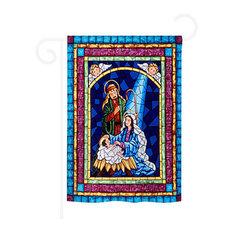 Nativity Stained Glass Nativity 2-Sided Impression Garden Flag