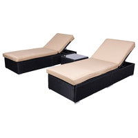Wicker Rattan Chaise Sofa 3-Piece Lounge Set