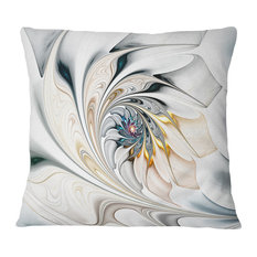 "White Stained Glass Floral Art Floral Throw Pillow, 16""x16"""