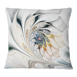 """White Stained Glass Floral Art Floral Throw Pillow, 16""""x16"""""""