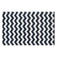 ADC Rugs   Chevron Zig Zag Navy Blue Handmade Persian Style Woolen Area Rug,  Navy