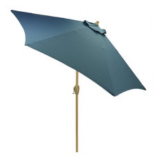 9' Round Outdoor Patio Umbrella with Natural Pole, Blue