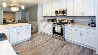 White Shaker Cabinets & Laminate Flooring