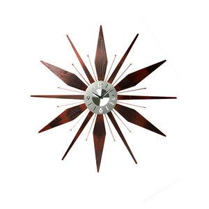 """Utopia Mid-Century Modern Vintage Sunburst Wall Clock, 30"""""""