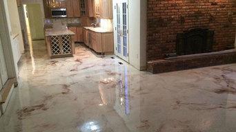 Decorative heated concrete epoxy floor