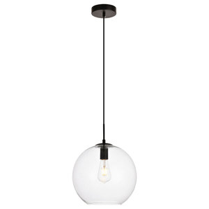 "Placido Collection Pendant, 1-Light, Black and Clear Finish, 11.8""x11.4"""