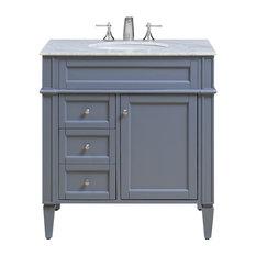 Elegant Furniture Lighting Park Avenue Single Vanity Set Gray 32