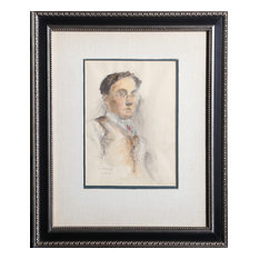 Raphael Soyer, Untitled 8, Man With Glasses, Pastel And Watercolor