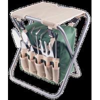 Pure Garden Folding Garden Stool With Tool Bag And 5 Garden Tools