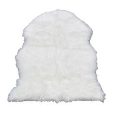 Super Soft White Faux Fur Sheepskin Shag Rug, White, Single Pelt 2'x3'
