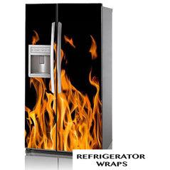 refrigerator vinyl wrap. flames side by refrigerator wrap vinyl