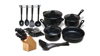 25 Piece Kitchen Cookware Set and 7 Piece Cutlery Knife Block Set