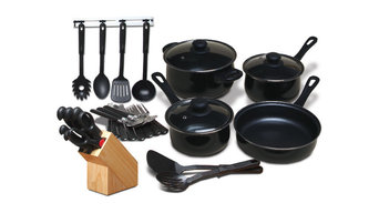 25 Piece Kitchen Cookware Set and 7 Piece Cutlery Knife Block Set