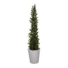 "Artificial 36"" Boxwood Pencil Topiary, Cream Zinc"
