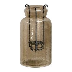 "Hurricane Tea Light Jar 15"" Rippled Glass and Metal Drop Tea Light Candle Holder"