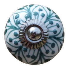 Ceramic Drawer Knobs Cabinet Knobs Ball, White With Teal Embossed Pattern    Cabinet And