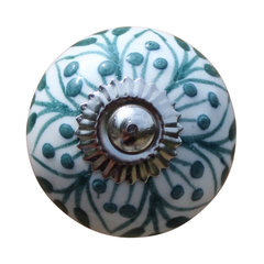 Ceramic Drawer Knobs Cabinet Knobs Ball, White With Teal Embossed Pattern