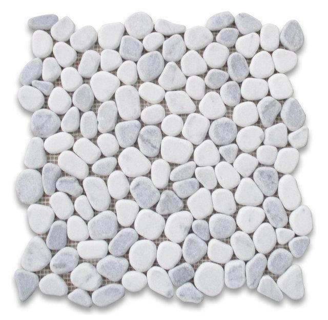 12 Quot X12 Quot Carrara Mix Bardiglio Gray Marble Pebble Stone