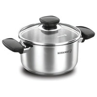 Korkmaz 18/10 Stainless Steel Sauce Pan With Glass Lid, Cookware 7 Quart