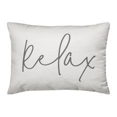 'Relax' Thin Script Outdoor Lumbar Pillow, White