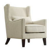 Loris Contemporary Linen Wingback Accent Chair, Tan