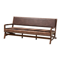 Leigh Rustic Brown Faux Leather Walnut Finish Sofa