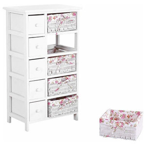 Contemporary Bedside Cabinet in Solid Hardwood with 5 Drawer and 5 Baskets