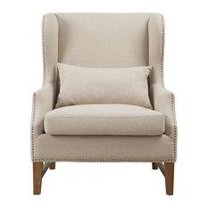 Devon Linen Wing Chair, Beige