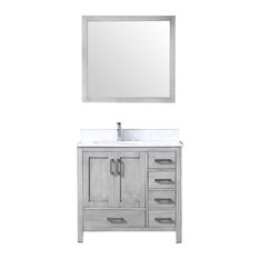 "36"" Single Vanity With Carrera Marble Top, Sink and 34"" Mirror, Distressed Gray"
