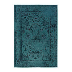 "Ophelia Overdyed Traditional Teal and Gray Rug, 7'10""x10'10"""