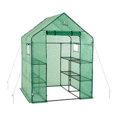 Upper Bounce - Walkin 2-Tier 8-Shelf Portable Lawn, Garden Greenhouse, Heavy Duty Anchor - Greenhouses
