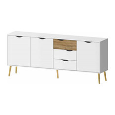 "Pemberly Row 77"" Sideboard in White and Oak"
