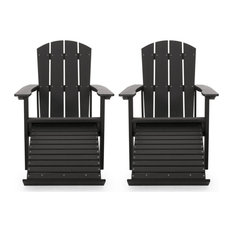 Ulises Outdoor Adirondack Chair With Retractable Ottoman, Set of 2, Black