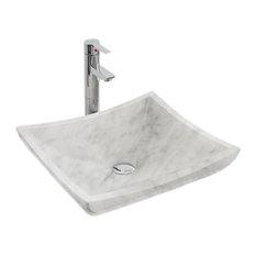 Vessel Bathroom Sink in White Carrara Marble
