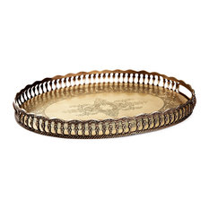 Oval Gallery Tray, Antique Brass