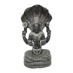 Mogul Interior - Yoga Guru Patanjali Hand Carved Black Stone Sculpture 8 Inch Form India - Decorative Objects And Figurines