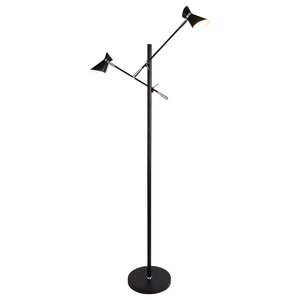 Diablo Double LED Floor Lamp, Matte Black and Chrome