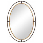 Unique Mirrors - Distressed Rustic Bronze Oval Wall Mirror, Bathroom Mirror, 24 X 34 - Included: Brackets, Ready to Hang