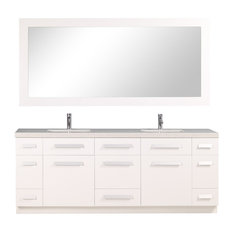 "Moscony 84"" Double Sink Vanity Set, Pure White"