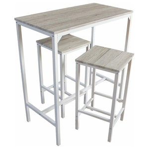Contemporary Tall Bar Set With Oak Finished Rectangular Table and 2-Stool