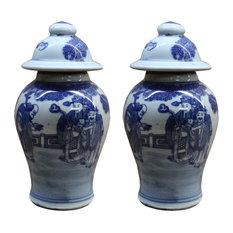 Lot of 2 Chinese Porcelain Blue & White Small Round Lid Jars Hws106