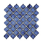 "12.38""x12.5"" Antaeus Porcelain Mosaic Floor/Wall Tile, Blue"