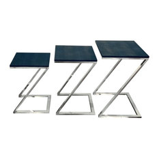 Black on Blue Metallic Shagreen Leather Set of 3 Nesting Z Base Tables