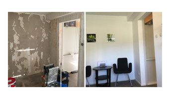 Inomhus målning, bredspackling, tapetsering och putsning