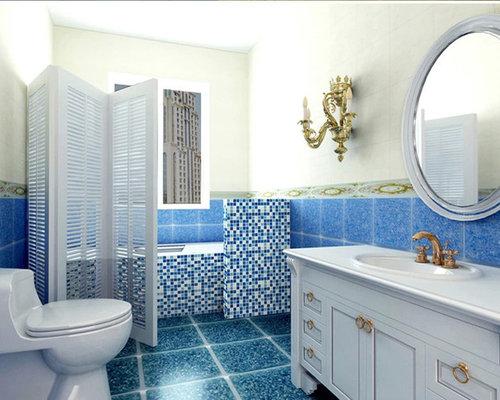 Crystal Glass Mosaic Tiles Blue White Cheap Kitchen Backsplash Tile Bathroom