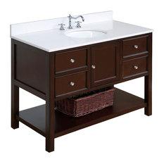 "Kitchen Bath Collection - New Yorker Bath Vanity, Base: Chocolate, 48"", Top: Quartz - Bathroom Vanities and Sink Consoles"